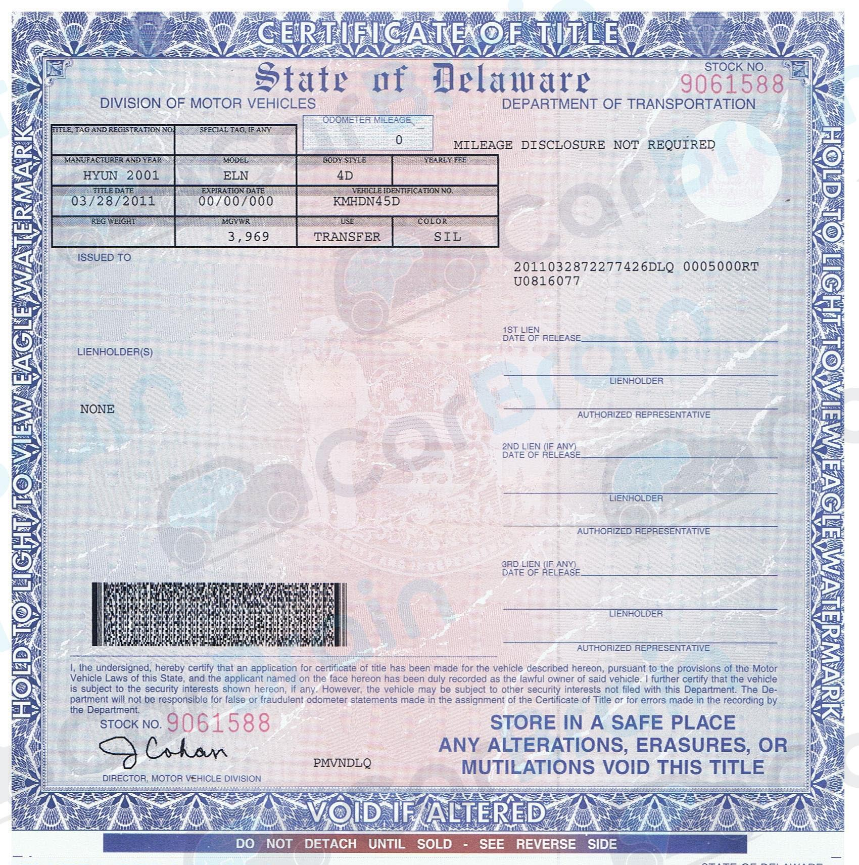 Delaware motor vehicle title transfer for State of florida motor vehicles